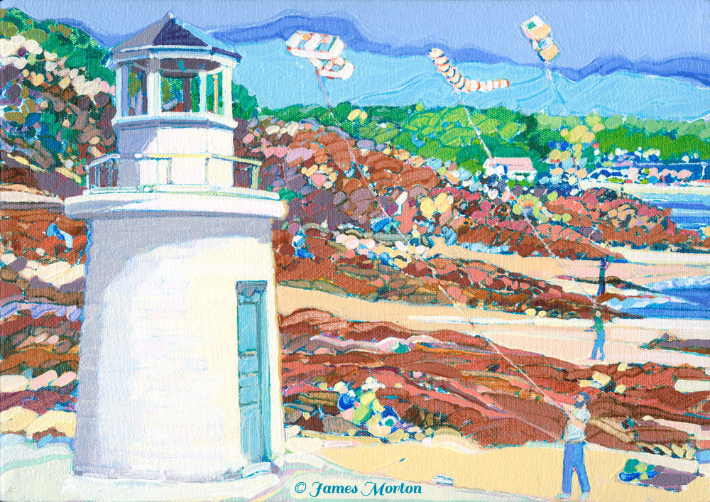 Painting Of The Marginal Way Lighthouse In Ogunquit Maine