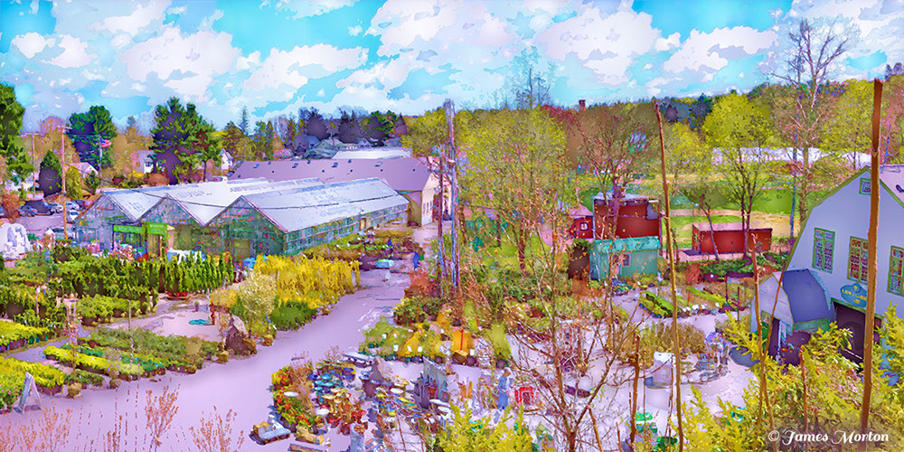 Spring At Mahoney 39 S Garden Center Overlook Of Greenhouses And Plant Nurseries Digigraph Print